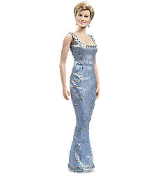 The Franklin Mint's Princess Diana Vinyl Portrait Doll with blue beaded silk gown. $245 USD.