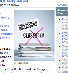 "UNESCO's copyrighted graphic for World Press Freedom Day (depicting a stack of documents, the word ""classified"" crossed out, and the word ""unclassified"" appearing above)"