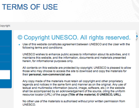 UNESCO Terms of Use partial screen capture