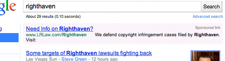 "Google keyword ad for Lewis & Roca: ""Need Info on Righthaven? ... We defend copyright infringement cases filed by Righthaven."""