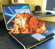 Explosion on keypad of laptop computer