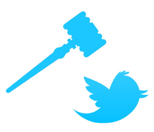 gavel coming down on twitter bird logo