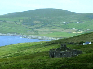 Irish countryside and ruins of old farm house