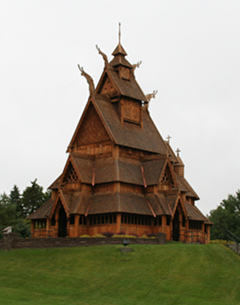 Stave church in Scandinavian Heritage Park in Minot, ND
