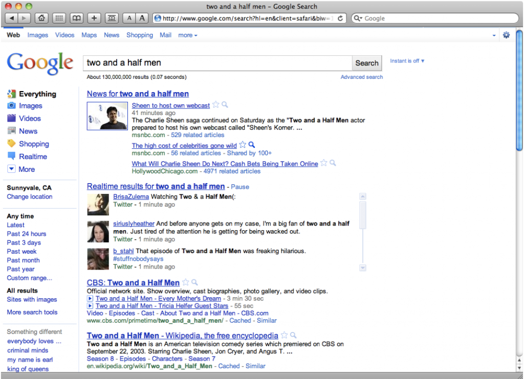 window grab showing Google&#039;s realtime search results coming up in regular search query