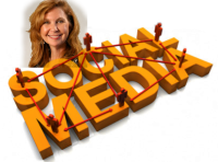 Headshot of Michelle Sherman and social media logo