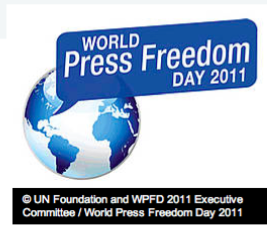 "World Press Freedom Day 2011 graphic with copyright notice: ""© UN Foundation and WPFD 2011 Executive Committee / World Press Freedom Day 2011"""