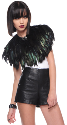 Black feather cape with brooch