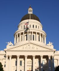 Looking up at the California capitol dome on a sunny day