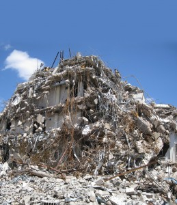 Huge pile of building rubble