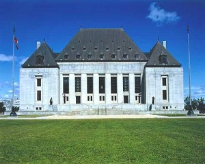 Front of Supreme Court of Canada courthouse on sunny day