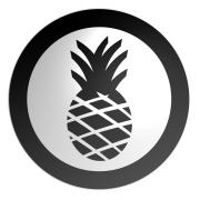 icon of a pineapple in a thick black circle