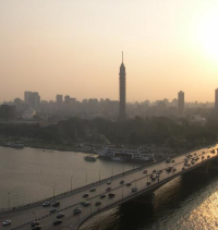 View of Cairo and the River Nile at dusk