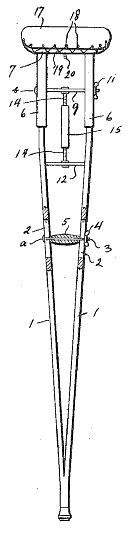 Patent diagram of a crutch
