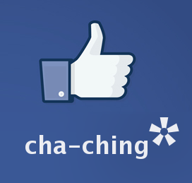 "Facebook thumbs-up symbol with ""cha-ching"" and large asterisk"