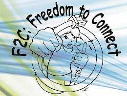 Freedom to Connect logo with an anime style person holding cables