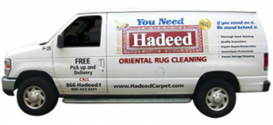 White van with Hadeed carpet cleaning livery