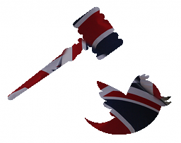 Gavel coming down on twitter bird, combined with British flag