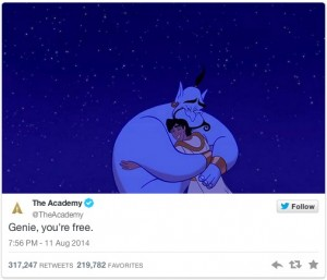 "@TheAcademy tweeting ""Genie, you're free."""